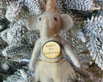 Baby's First Christmas Elephant Girl| Christmas Elephant | Felted Wool Elephant | Gifts under 15