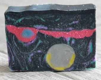 Planetary Soap Bar - Planet Soap - Galaxy Soap - Outer Space Soap - Space Soap - Handmade Soap - Bar Soap - Activated Charcoal Soap