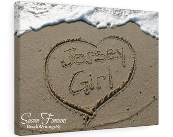 Jersey Girl in a Heart Drawn in the Sand on the Beach Canvas Wall Hanging, Wall Art, Photograph