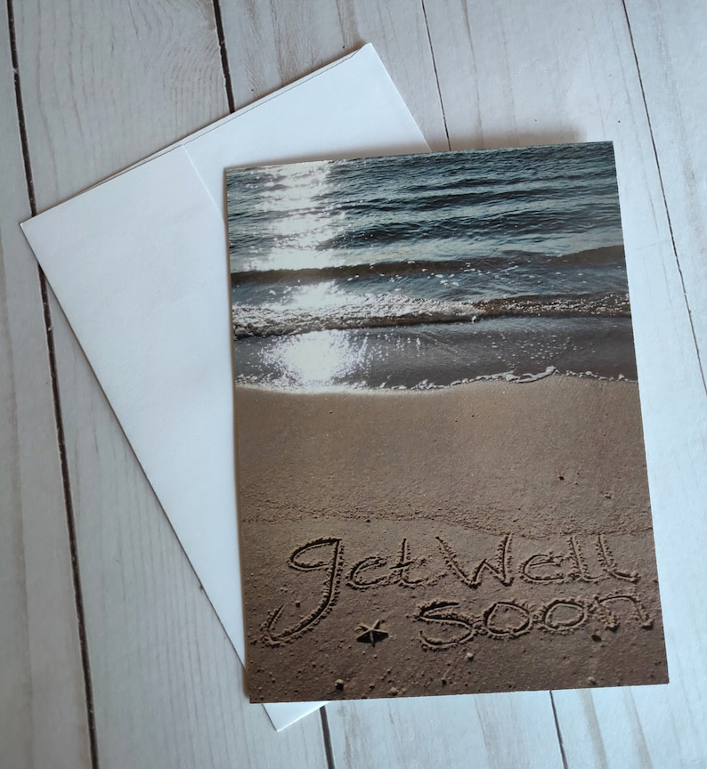 Get Well Soon Beach Writing Sand Writing Card Ocean Beach image 0