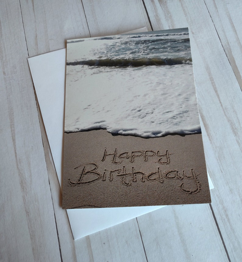 Happy Birthday Beach Writing Sand Writing Card Ocean image 0