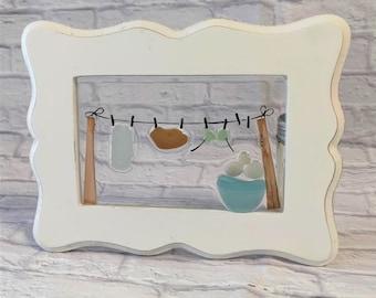 Bikini Sea Glass Art, Beach Gift, Sea Glass Gift, Summer Day, Laundry Basket, Clothes Line, Sun Catcher Mosaic, Wall Hanging, Beach Decor