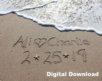 Beach Writing, Names in the Sand, Beach Photo, Custom Beach Art, Beach Lover DIGITAL DOWNLOAD ONLY