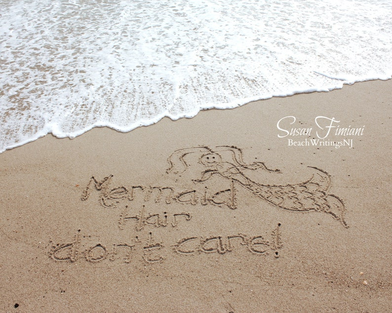 Mermaid Hair Don't Care with Mermaid Beach Writing Wedding image 0