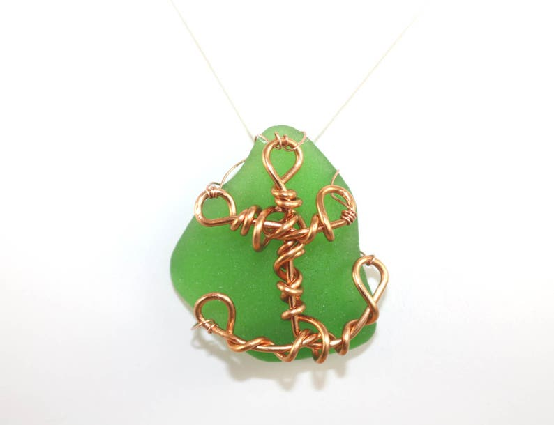 Anchor Necklace Sea Glass Beach Glass Charm Pendant Copper image 0