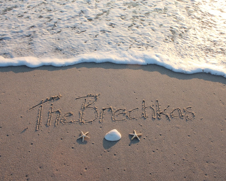 Last Names in the Sand Beach Writings YOU PRINT Family image 0