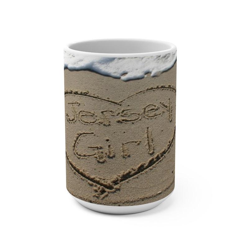Jersey Girl Coffee Cup Mug Beach Writing 15oz Tea image 0