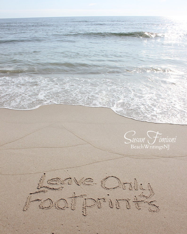 Leave Only Footprints Beach Writing Wedding 5x7 8x10 Printed image 0