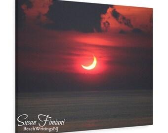 Solar Eclipse Sunrise  Over the Ocean 2 Canvas Gallery Wrap, June 10, 2021