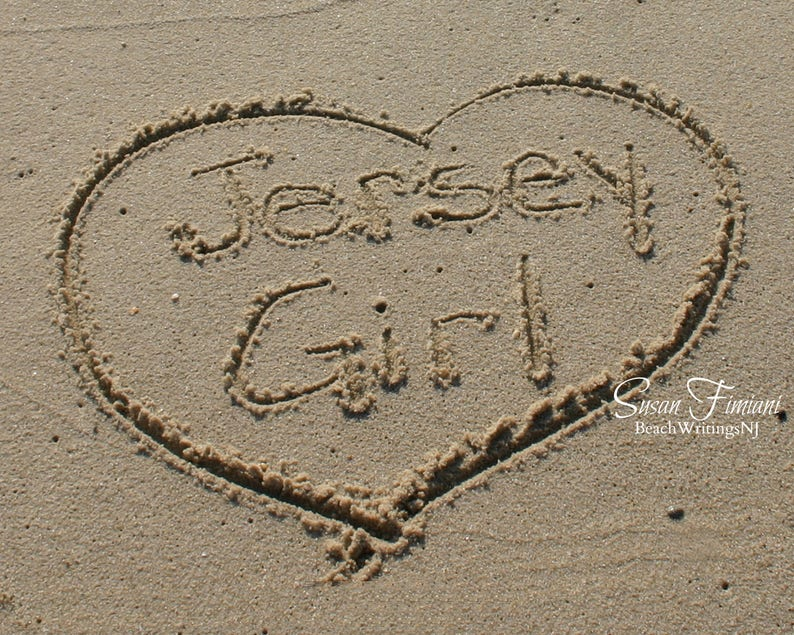 Jersey Girl on the Jersey Shore Beach Art Heart in Sand Photo image 0