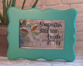 Sea Glass Dragonfly, Dragonflies appear when Angels are near Mosaic, wall hanging, wall art, memorial art