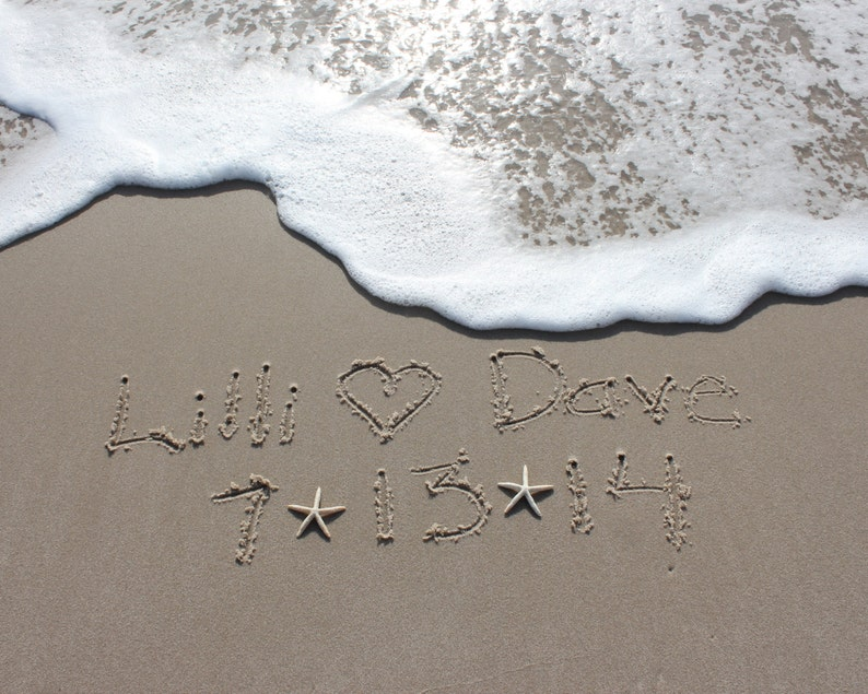 Write Your Names in the Sand Beach Writing Wedding Download & image 0