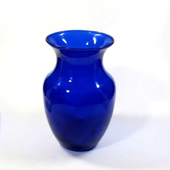 Vintage Cobalt Blue Vase Blue Glass Vase Etsy