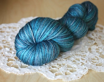 Hand Dyed Yarn / Fingering Weight / Deep Turquoise Cobalt Blue Azure Superwash Merino Cashmere Nylon / Gifts for Knitters Crocheters