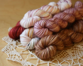 Hand Dyed Mini Skeins / Fingering Weight Yarn / Rose Blush Deep Red Mauve Rosewood Superwash Merino Wool Cashmere Nylon