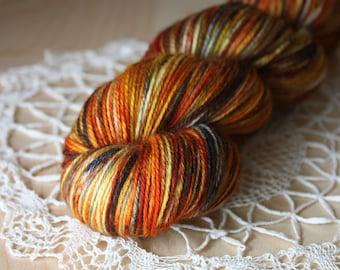 Hand Dyed Yarn / Fingering Weight / Pumpkin Burnt Orange Russet Charcoal Superwash Merino Wool / Dyed on Order