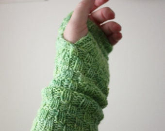 Knitting Pattern / Mitts Fingerless Mittens / Cheques Long / PDF DIGITAL DELIVERY