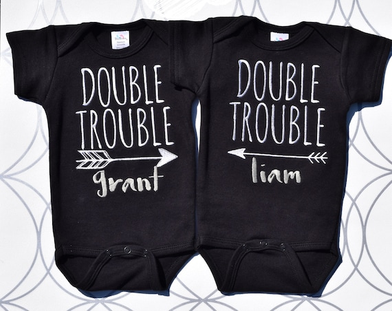 Double Trouble onesies/bodysuits in black