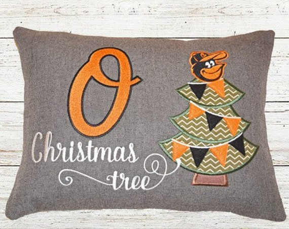 "Christmas Decorative Pillow / Orioles Fan Christmas Gift / ""O Christmas Tree"""