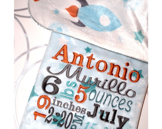 Baby Boy Birth Info Blanket / Personalized Baby Boy Gift / Baptism Christening Gift / Custom Minky Baby Blanket / Large Crib Blanket Boy
