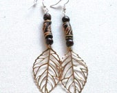 Fall Leaf Krobo Bead Earr...
