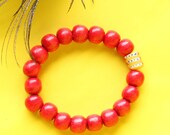 Glossy red wooden bead br...