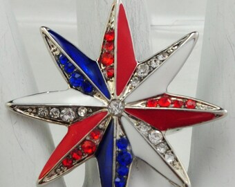 Patriotic Star Ring/Red/White/Blue/Rhinestone/Memorial Day/4th of July/Adjustable/under 20 USD