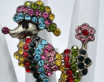 Poodle  Dog Ring Colorful Dog Animal Jewelry Gift For Her Adjustable Ring Under 25 USD