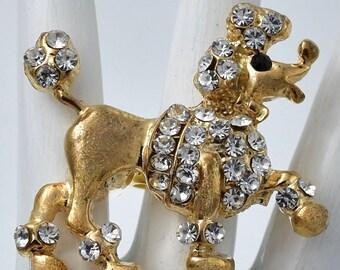 Gold Dog Ring, Rhinestone Dog ,Big Dog,Poodle Dog Ring,Pet Jewelry Adjustable Under 25 USD