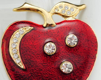 Red Apple Ring Rhinestones Gold Ring Back to School Gift Teacher Gift Adjustable Ring Under 25 USD