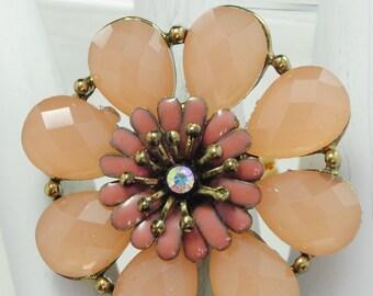 Statement Flower Ring/Blush/Rhinestone/Pink/Spring/Summer Jewelry/Mother's Day Gift/Adjustable/Under 20 USD