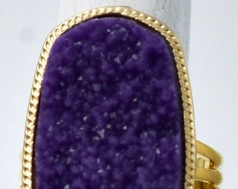 Purple Druzy Ring,Gold Ring,Geometric Ring, Adjustable Ring Under 25 USD
