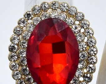 Oval Red Cocktail Ring Clear Rhinestones Holiday Jewelry Gift For Women Adjustable Ring Under 20 USD