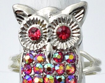 Iridescent Owl Ring Silver Owl Ring Petite Ring Fall Jewelry Adjustable Ring Under 20 USD