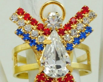 Patriotic Angel Ring/Red/White/Blue/Rhinestone/Gift For Her/Statement Ring/Memorial Day/4th of July/Adjustable/Under 12 USD