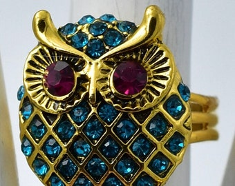 Small Owl Ring with Turquoise Rhinestones Ring Gold Ring Fall Jewelry Under 25 USD Adjustable Ring