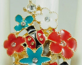 Flower Garden Statement Ring/Rhinestone/Ladybug/Gold/Red/White/Turquoise/Gift For Her/Summer Jewelry/Nature Jewelry/Adjustable/Under 15 USD