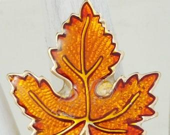 Maple  Leaf Ring Gold & Orange AutumnJewelry Adjustable Ring Under 20 USD