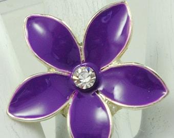 Purple Flower Ring/Silver/Statement Ring/Spring/Summer Jewelry/Rhinestone/Nature Jewelry/Adjustable/Under 12 USD