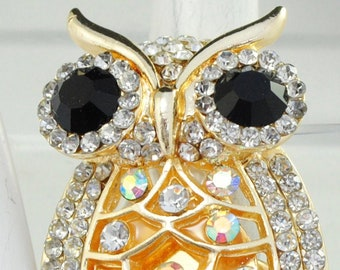 Gold  Owl Ring Clear Black & AB  Rhinestones Big Ring  Adjustable Ring Under 25 USD