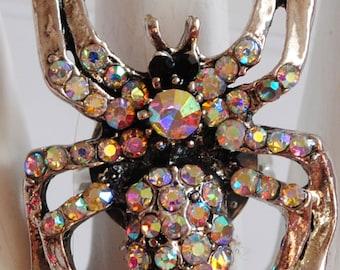 Iridescent Spider Ring AB Rhinestones Silver Ring Halloween Ring   Adjustable Ring Under 25 USD