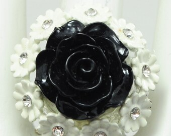 Black Floral Ring/White/Rhinestone/Gift For Her/Statement Ring/Summer Jewelry/Adjustable/Under 15 USD