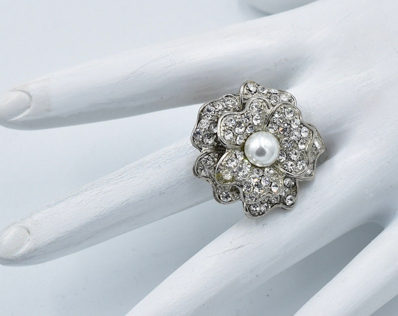 Rhinestone Flower Ring  with Pearl Wedding Jewelry Silver Ring  Gift For Her Adjustable Ring Under 20 USD