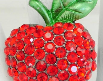 Red Apple Ring Rhinestones Back To School Teacher Gift  Adjustable Ring Under 25 USD