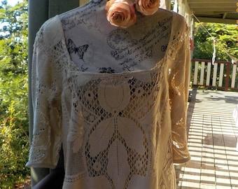 bohemian tunic - vintage hippy style lace mini dress - large
