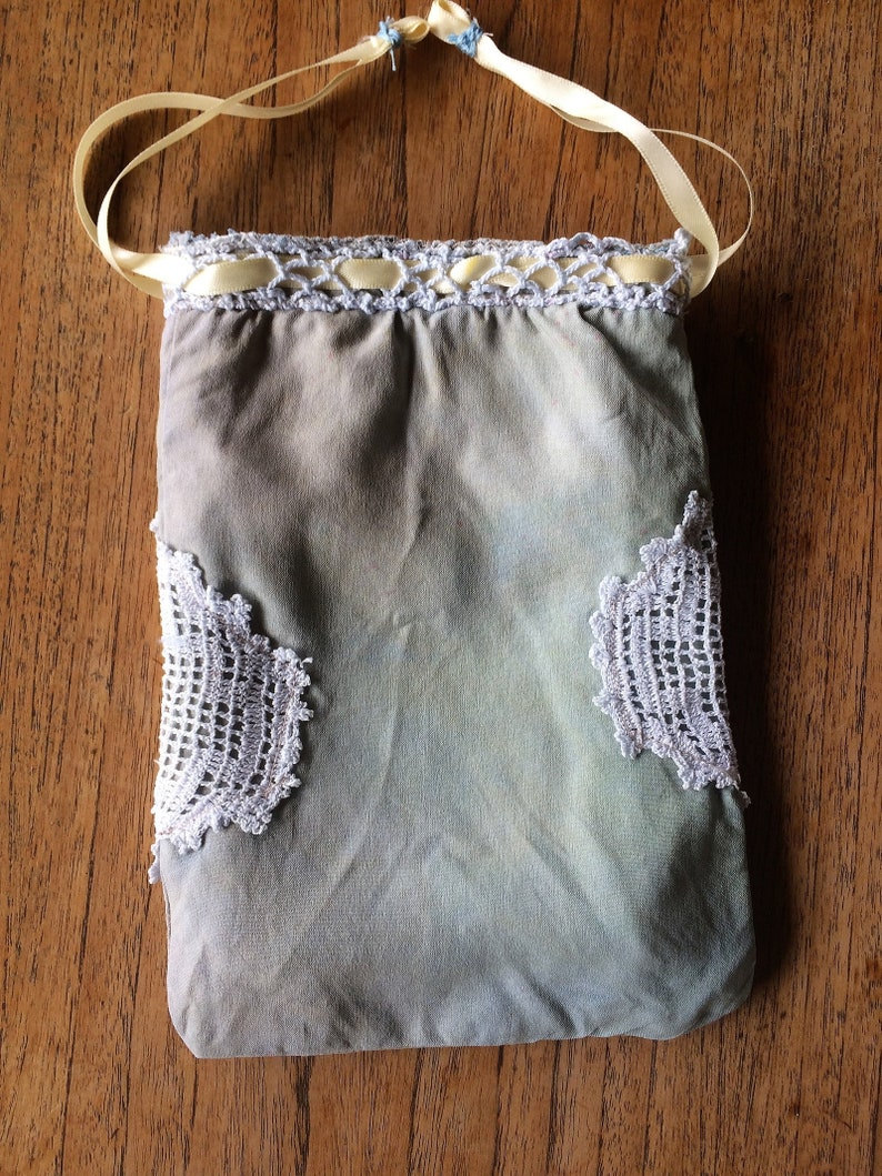 small silk /& vintage lace bag gift hippy bohemian