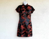 Cheongsam, Red and Black Satin Brocade, Asian Dress, Party Dress, Size 4 Small, Red Satin Party Dress, Cocktail Dress