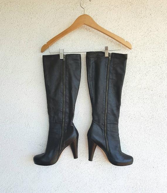 Vintage Boots Women Size 9,  Black Leather Boots,… - image 2