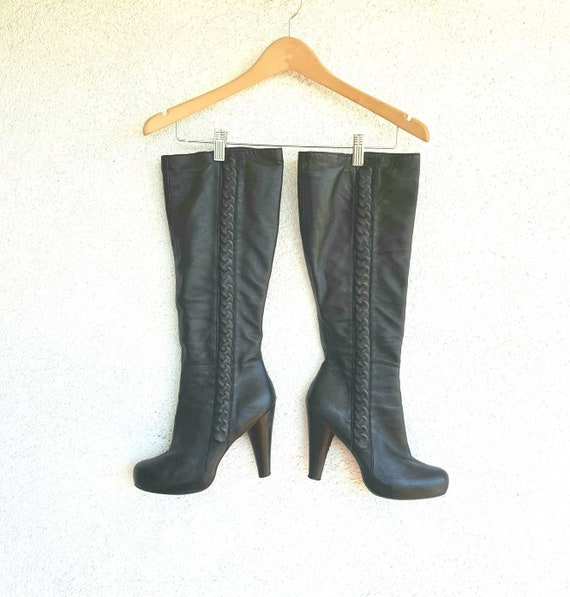 Vintage Boots Women Size 9,  Black Leather Boots,