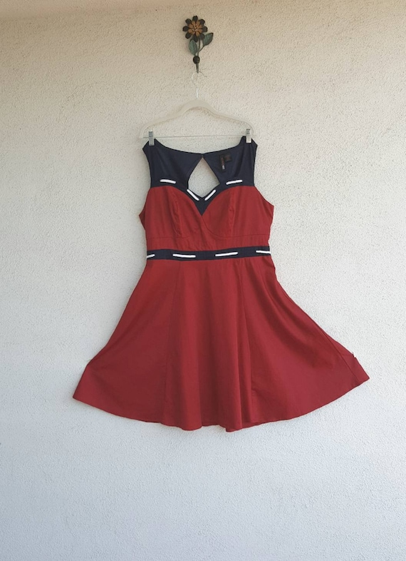 Vintage Plus Size Clothing - Pin Up Dress - Vintage Red Dress - Rockabilly  Dress - Red and Navy Sailor Dress - Plus Size - 2XL Dresses